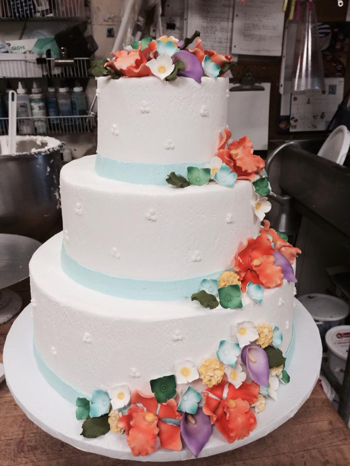 Floral LBI Wedding Cakes by The Big Apple Bakery