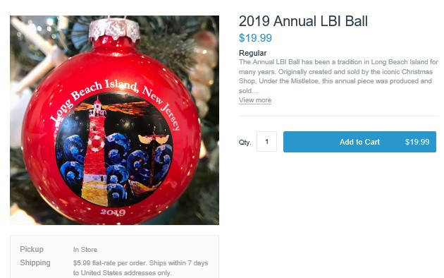 2019 LBI Tree Ornament - LBI Christmas Shopping