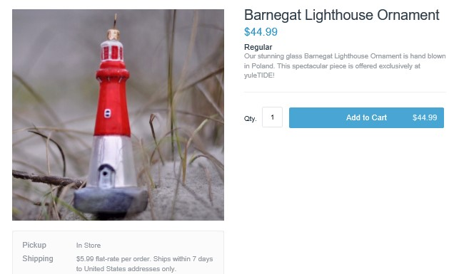 Barnegat Lighthouse Ornament - Hand Blown in Poland