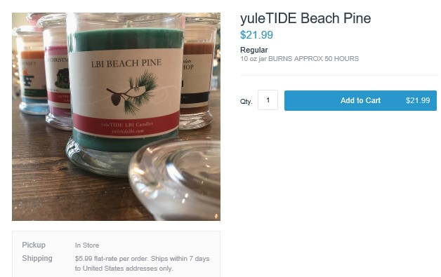 LBI Beach Pine Candle - LBI Christmas Shopping