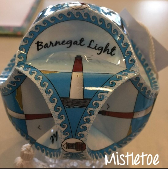 Paper Globe Glass Ornament, Mistletoe in LBI
